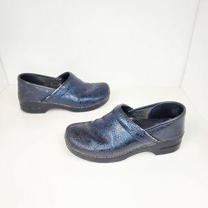 DANSKO blue floral embossed leather clogs size 42